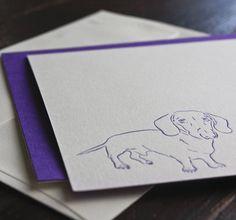Dachschund letterpress notecards by Rory Mackay