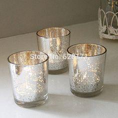 Set of 24 Mercury Wedding glass sliver/gold color votive candle holder, glass candlestick for table decoration centerpieces