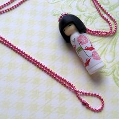 Japanese Kawaii Kokeshi Doll Necklace by 3ApplesOnline on Etsy, $8.50