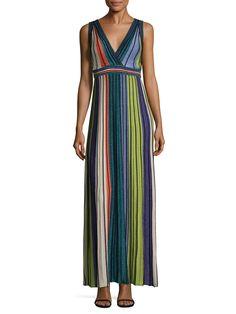 M Missoni Stripped Pleat Maxi Dress