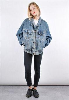 90s+Mid+Blue+Levis+Vintage+Oversized+Denim+Jacket