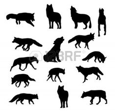 Dog Wolf Fox; Silhouette Vector | craft time | Pinterest | Foxes ...