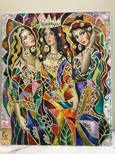 Oil on Canvas Painting of 3 Russian Women by E.K.
