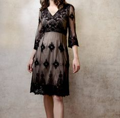 Claudia Dress In Black Embroidered Lace