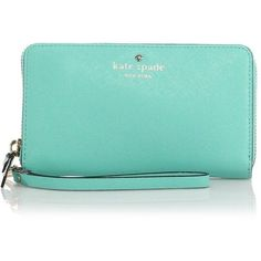 Kate Spade New York Cedar Street Saffiano Leather Wristlet ($155) ❤ liked on Polyvore featuring bags, handbags, clutches, purses, apparel & accessories, fresh air, blue wristlet, wristlet handbags, kate spade handbag and saffiano leather handbag