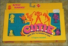 C.U.T.I.E. action figures - Mattel's girl targeted alternative to their popular M.U.S.C.L.E figures of the day. #vintage #nostalgia #1980s #toys