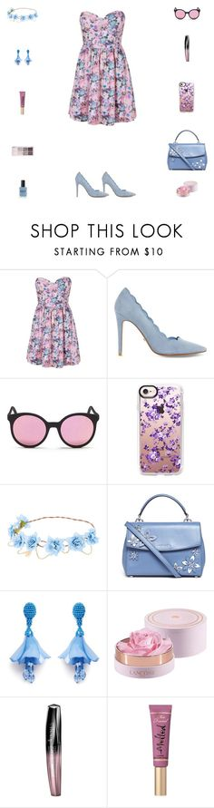 """Contest: Pink, Lilac & Indigo Floral Outfit"" by billsacred ❤ liked on Polyvore featuring Boob, Dune, Spektre, Casetify, Michael Kors, Oscar de la Renta, Lancôme, Rimmel, Too Faced Cosmetics and Lauren B. Beauty"