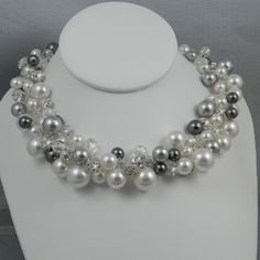 Chunky bridal Necklace Pearl Wedding necklace by CrystalAvenues, $118.00