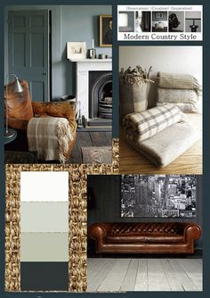 Try Dulux White, Farrow and Ball Light Blue, Farrow and Ball Blue Gray, Autentico Nearly Black. Room Decor, Decor, Leather Sofa Living Room, Home Living Room, Modern Country Style, Front Room, Brown Living Room Decor, Brown And Blue Living Room, Tan Leather Sofas