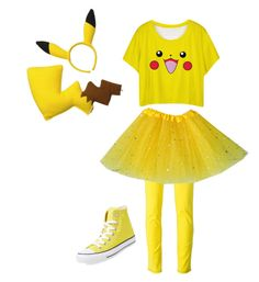"""""""Pikachu Costume"""" by rollo2006 ❤ liked on Polyvore featuring moda, Converse e Versace"""