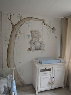 Mural I for you (Tatty Teddy mural), by Lysette Greeve, look … - Baby Room Ideas Baby Bedroom, Baby Boy Rooms, Baby Room Decor, Baby Boy Nurseries, Kids Bedroom, Nursery Decor, Nursery Art, Nursery Ideas, Nursery Toys