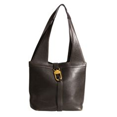 a42b8882b46 Tote bag in dark brown matte leather with gold hardware
