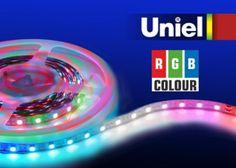 5 m-es Uniel, RGB színes LED szalag adapterrel és távirányítóval