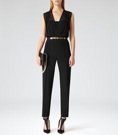 Womens Black Semi-sheer Jumpsuit - Reiss Salinas