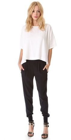 Jogger Pant, oversize blouse, heels (could also wear with a flat t-strap sandal