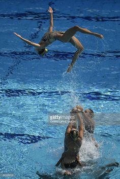 Team China competes in the Teams Technical Routine Final during the synchronised…