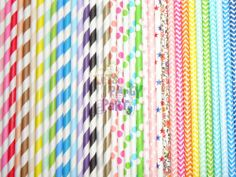 Paper Straws (Checkers, Chevrons, Circles, Damasks, Dots, Harlequins, Hearts, Solids, Starts, Stripes, Miscellaneous) available in colors: Pink, Red, Orange, Yellow, Green, Aqua, Blue, Purple, Grey, Black, Gold and Silver. 25pcs per OPP bag. Includes Free Shipping. $64.90 per lot