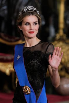 Queen Letizia of Spain Photos: Gala Dinner at the Royal Palace in Madrid