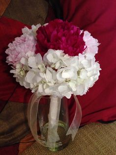 White hydrangea and peonies bouquet