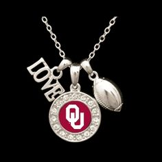 Oklahoma Sooners 3 Charm Football Necklace - Charming Collectables