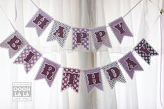Radiant Orchid  Happy Birthday Banner by ooohlalapaperie on Etsy, $30.00