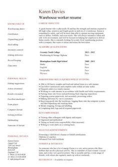 warehouse worker resume examples   sample resumes   sample    stockroom manager resume samples   http     resumecareer info stockroom