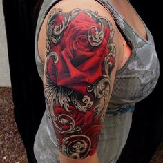 Roses with silver leafs tattoo