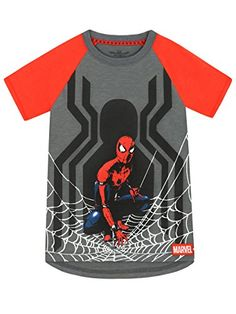 Spider-Man Boys' Spiderman T-shirt Size 6:   Boys Spiderman T-Shirt. This web-tastic short sleeve tee features a large print of the marvellous Spiderman kneeling on his spider-web against a large silhouette print of a Spider. Inspired by the popular movie franchise this shirt is perfect for fans of the marvelous superhero himself! Crafted in cotton with a dipped hem, this signature piece is a must have for all little aspiring web-slingers to relax in.