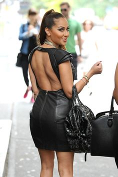 Adrienne Bailon Photos - Adrienne Bailon, former Disney star and girlfriend to Rob Kardashian, sports a tight leather dress while out with a few girlfriends in New York City. - Adrienne Bailon in a Leather Dress Adrienne Bailon Wedding Dress, Celebrity Pictures, Celebrity Style, The Cheetah Girls, Glamour Magazine, Dress Out, Leather Dresses, Successful Women, Couture
