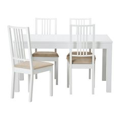 BJURSTA / BÖRJE Bord och 4 stolar, vit, Kungsvik sandfärgad 3 275 kr från IKEA