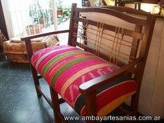 Sillon tapizado con manta en telar