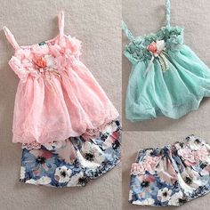 2015 New Summer Girls sets Kids Chiffon Straps Tops+Floral Pattern Shorts 2 PCS Set Children suits -in Clothing Sets from Mother & Kids on Aliexpress.com | Alibaba Group