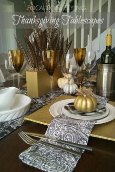 Save with thrift and splurge on style without busting your budget at HomeGoods - A great way to  personalize your gathering while entertaining this Thanksgiving or Holiday season - Lynda Quintero-Davids #FocalPointStyling Thanksgiving Table Settings, Thanksgiving Tablescapes, Thanksgiving Decorations, Seasonal Decor, Table Setting Inspiration, Autumn Inspiration, Fall Table, Elegant Table, Table Centerpieces