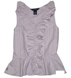 NWT Ralph Lauren Girls Striped Ruffle Sleeveless Shirt Top Size 2T #RalphLauren #Everyday