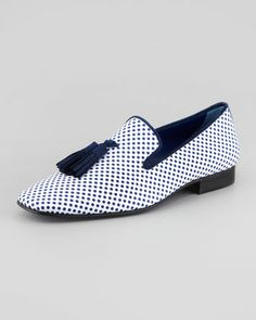 Polka Dot-Print Tassel Loafer by Hadleighs at Neiman Marcus.