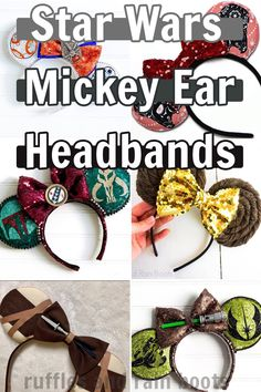 There's a ton of different Star Wars Minnie Mouse ears that you can make or order. I love all the options--so hard to pick one! I love the Porg ones, though. Click through to see all of the cute Star Wars Mickey ears! Diy Mickey Mouse Ears, Diy Disney Ears, Disney Mickey Ears, Disney Bows, Disney Star Wars, Disney Diy, Disney Crafts, Disney Stars, Walt Disney