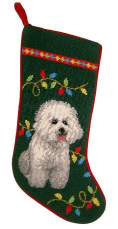 """Holiday Bichon Frise Dog Christmas Needlepoint Stocking - 11"""" x 18"""""""