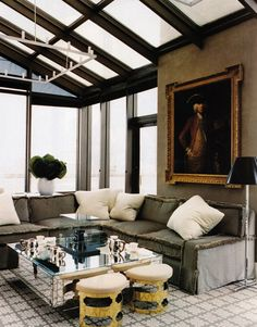 Jeffrey Bilhuber - the moss fringe trim does it for me. Fabulous room for the Stark family
