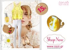 #LookOfTheDay Στα χρώματα του ήλιου, λευκό και κίτρινο, για να χαρούμε τις ωραιότερες καλοκαιρινές στιγμές.  Δαχτυλίδι Ozzi επίχρυσο με σμάλτο μόνο 15€!  #fashion #jewellery #kosmimata #accessories #ring