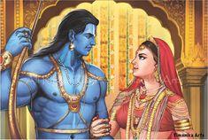 Ram Sita Marriage Canvas Art Print by Vimanika Arts. - Prints for Sale online in India. Shiva Art, Krishna Art, Hindu Art, Hanuman Images, Lord Krishna Images, Ram Sita Image, Jay Shree Ram, Rama Lord, Lord Rama Images