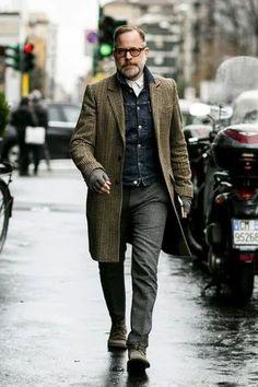 """Tweeded Herringbone Coat, Denim Jacket, and Boots."" https://sumally.com/p/1414524"