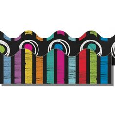 Colorful Chalkboard Two-Sided Scalloped Border, CD-108196