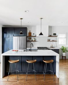 Ned and ariel fulmer of the try guys, just renovated their california moder Home Decor Kitchen, Kitchen Interior, Kitchen Design, Green Kitchen, New Kitchen, Blue Shaker Kitchen, Kitchen Tile, Cleaning White Walls, Cocinas Kitchen
