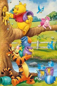 *POOH, PIGLET & TIGGER ~ Even though Tigger doesn't like it's so sweet of him and Piglet to help Pooh to gather honey! The post Even though Tigger doesn't like it's so sweet of him and Piglet to help … appeared first on Paris Disneyland Pictures. Cute Winnie The Pooh, Winne The Pooh, Winnie The Pooh Quotes, Winnie The Pooh Friends, Mickey And Friends, Walt Disney, Disney Art, Disney Pixar, Eeyore