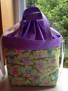 Insulated lunch tote / lunch bag owls purple owl by sheilarich6, Esty