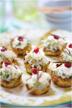 Potato Nests with Crab and Apple Topping amuse bouche appetizers