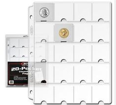 COIN STORAGE FOR 3-RING BINDER 10 PAGES 88 POCKETS FOR COINS UP TO 22mm