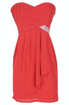 Black Tie Optional Strapless Embellished Designer Dress in Red