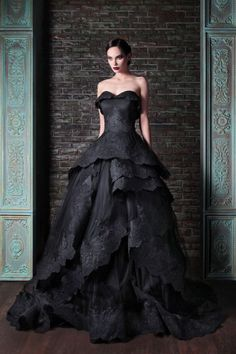 Rami Kadi Strapless Black Lace Wedding Dress