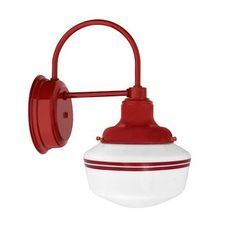 The Mascot Schoolhouse Sconce, Opaque Glass, Red Mounting & Fitter Finish, Double Painted Band in Red Wall Lights, Sconces, Eclectic Light Fixtures, School House Lighting, Sconce Lighting, Barn Lighting, Light Fixtures, Lights, Light